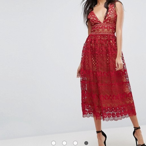 Asos Red Lace Dress Nwt